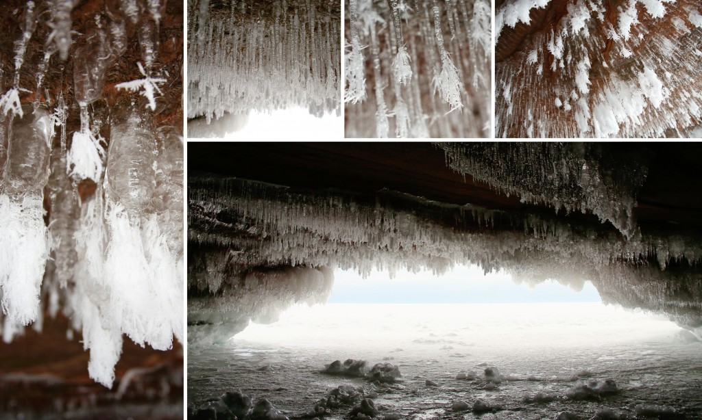 lake superior, bayfield, cornucopia, meyers beach, sea caves, winter, ice, icicles, icy caves, blue pastel winter, sandstone cave, sea cave, wisconsin natural park